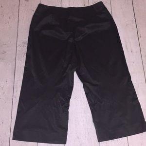 Satin-sheen cropped black pants